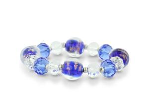 Blue Murano Glass and Crystal Bead Bracelet