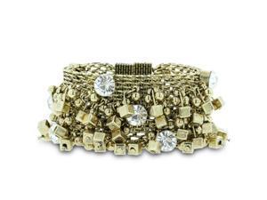 Wide Fashionable Woven Statement Charm Bracelet