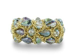 Briolette Shaped Green and Purple Crystal Gold Tone Bracelet