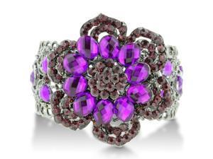 Shimmering Violet and Rose Colored Flower Cuff Bangle Bracelet