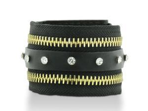 Black Leather Rhinestone Adorned and Gold Tone Zipper Cuff Bracelet