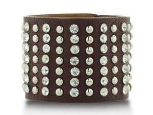 Brown Leather Rockstar Rhinestone and Studded Cuff Bracelet