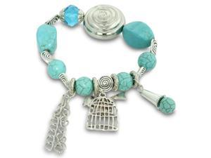 Turquoise and Silver Tone Beaded Crystal Elastic Charm Bracelet
