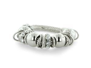 Silver Tone Rhinestone Stretch Charm Bracelet