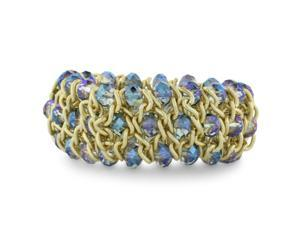 Triple Row Iridescent Electric Blue Crystal Matte Finish Bracelet