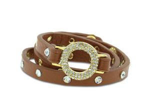 Skinny Brown Leather Gold-Tone and Rhinestone Triple Wrap Bracelet.