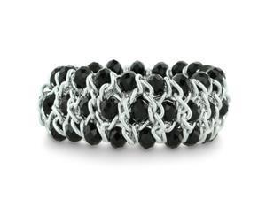 Triple Row Midnight Black Crystal and Silver Tone Stretch Bracelet