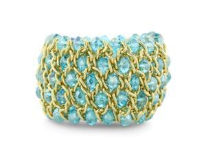 Shimmering Tropical Blue Crystal and Gold Tone Stretch Bracelet, Fits 6 To 7.5 Inches