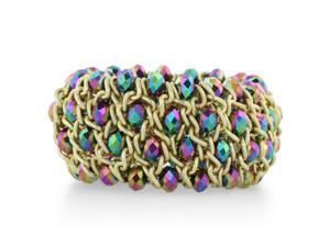 Iridescent Green and Purple Crystal and Matte Finish Bracelet