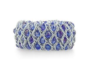 Iridescent Periwinkle Blue Crystal and Silver Tone Stretch Bracelet