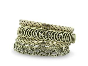 Set of Eight Twisted Wire Brass Bangle Bracelets, 7 Inches
