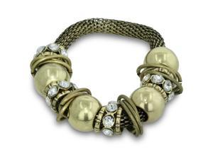 Gold Tone Rhinestone Stretch Charm Thick Bracelet, 7 Inches, Fits 7 to 8.5 Inches