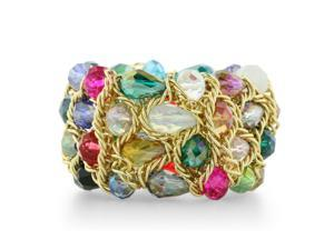 Multicolored Shimmering Crystal and Gold Tone Stretch Bracelet, Fits 6 To 7.5 Inches