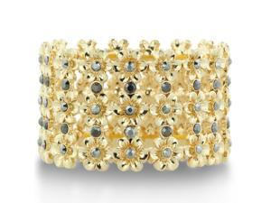 Grey Crystal and Gold Tone Floral Stretch Cuff Bracelet