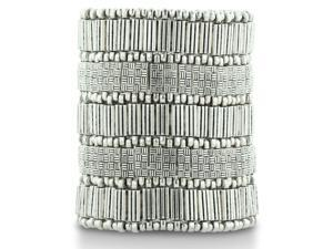 Aztec Inspired Superwide Silver Tone Stretch Weave Cuff Bracelet, Fits Wrist Sizes 6-8