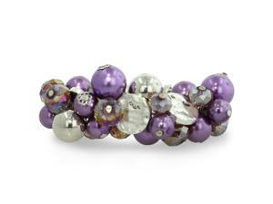 Chunky Purple Bead and Iridescent Crystal Bracelet, 7 Inches, fits 6.5 to 8 inches