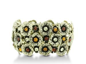 Antique Style Flower Cuff Stretch Bracelet with Shimmering Gold Tone Crystals, Fits Wrist Sizes 7-9