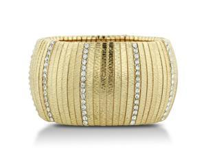 Oversized Very Wide Gold Tone Stretch Cuff Bracelet with Shimmering White Crystals, Fits Wrist Sizes 7-8