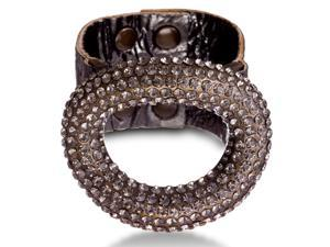 Grey Leather Rhinestone Studded Dome Bracelet, Fits Wrist Sizes 6-7