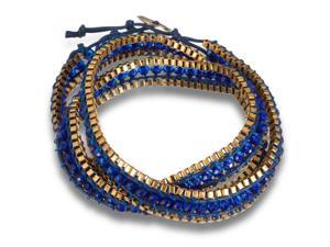 Blue Crystal Wrap Bracelet with Gold Tone Box Chain Border and Button Closure, 22 Inches Long