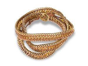 Brown Crystal Wrap Bracelet with Gold Tone Box Chain Border and Button Closure, 22 Inches Long
