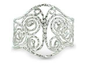 Butterfly Motif Hammered Wire Silver Tone 2 1/2 Inch Cuff Bracelet, Fits 6.5 to 8 Inch Wrist