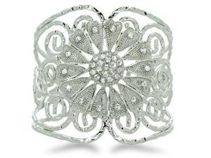 Flower Design Twisted Wire Ancient Looking Designer 2 1/2 Inch Cuff Bracelet, Fits 6.5 to 8 Inch Wrist