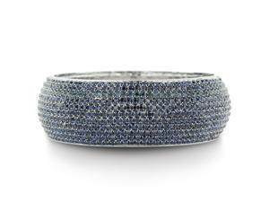 Dazzling Navy Blue Crystal 1 Inch Wide Domed Bangle Bracelet