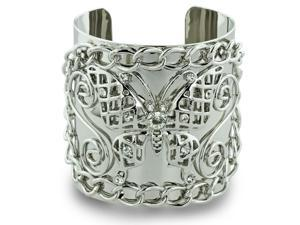 Rhinestone Studded Butterfly And Chain Link Design 2 1/2 Inch Wide Silver Tone Cuff Bracelet, 7 Inches