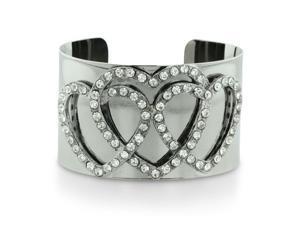 Fiery Crystal Studded Triple Heart Silver Tone 1 1/2 Inch Wide Cuff Bracelet, 7 Inches