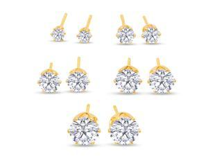 SuperJeweler A01083 Set Of Five Cubic Zirconia Stud Earrings In Yellow Gold - 1/3ct, 1/2ct, 1ct, 1 3/4ct, and 2 1/4ct