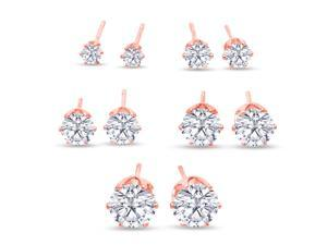 SuperJeweler A01083  Set Of Five Cubic Zirconia Stud Earrings In Rose Gold - 1/3ct, 1/2ct, 1ct, 1 3/4ct, and 2 1/4ct