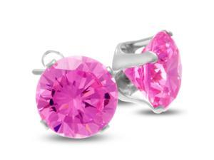 SuperJeweler A01222 4Ct Diamond Size Pink Cubic Zirconia Stud Earrings, Sterling Silver