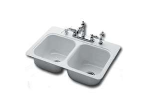 Bootz Plumbing Fixtures 031-2901-00 Double Bowl Sink, Steel, White Porcelain