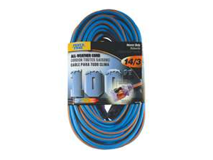 Power Zone ORC530735 Cord 100-Foot 14/3 All-Weather Outdoor Blue with Orange Str