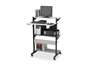 Soho Adjustable Mobile Computer Table 32w x 31d x 50h Gray/Black
