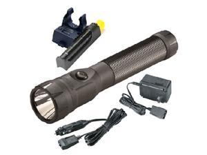 76132 PolyStinger Dual Switch LED Rechargeable Flashlight Extra Battery and Piggyback Charger (Black)