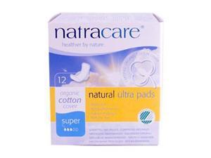 Natural Ultra Pads With Organic Cotton Cover Ultra with Wings Super - Natracare - 12 - Pads