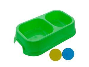 Bulk Buys DI467 Dog Bowl 2 Section Assorted Colors Case of 144