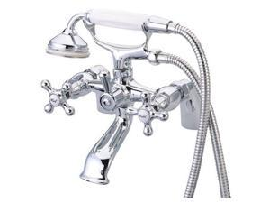 Kingston Brass KS267C 8 Inch Center Spread Tub-Deck Mount Clawfoot Tub Filler With Hand Shower - Polished Chrome