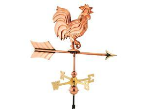 Good Directions 802PR Rooster Garden Weathervane - Polished Copper with Roof Mou