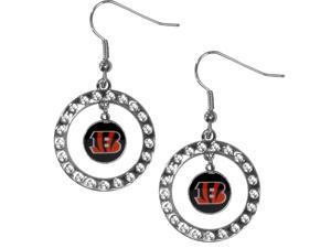 Siskiyou FRE010 Cincinnati Bengals Rhinestone Hoop Earrings