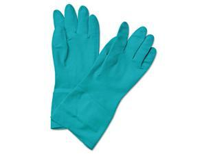Boardwalk BWK 183M Boardwalk Flock-Lined Nitrile Gloves, Medium, Green, 13 in, D