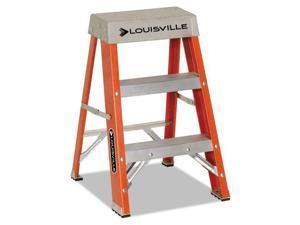 "Fiberglass Heavy Duty Step Ladder 28 3/8"" 2-Step Orange"