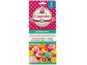 Bulk Buys HM068 Decorative Cupcake Wraps And Toppers Set - 144-Pack