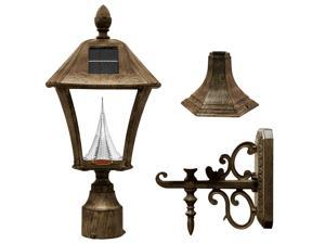 Gama Sonic Baytown Solar LED Outdoor Light Fixture - Pole/Post/Wall Mount Kit -