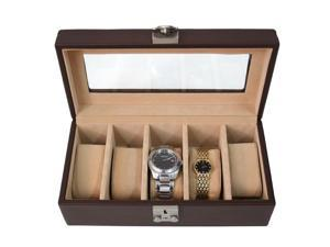 Royce Leather Deluxe 5 Watch Box, Coco - 929-COCO-5
