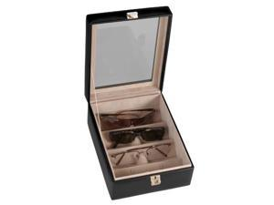Royce Leather 4 Slot Eyeglass Box, Black - 931-BLACK-5