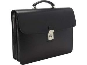 Royce Leather 761-BLACK-2 Kensington Single Gusset Briefcase