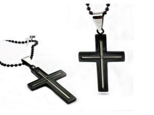 Black Stainless Steel Men's Cross Pendant